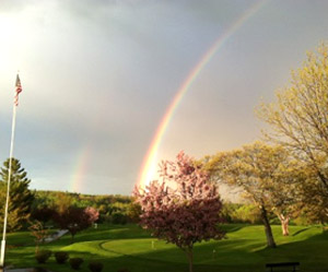 Rainbow over the golf course