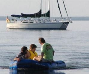 Family rafts on Leech Lake