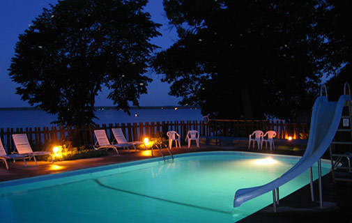 outdoor pool at a Leech Lake resort