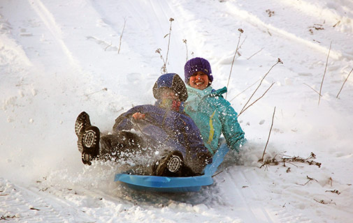 children sliding down a hill in the winter